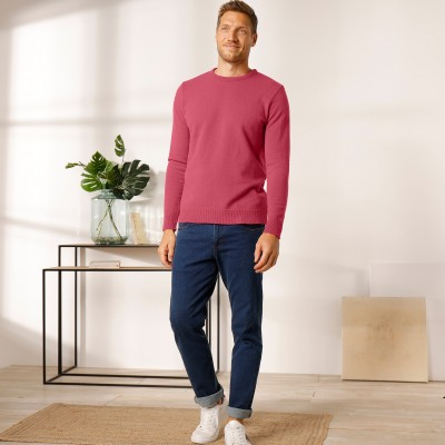 Pull col rond 80% laine Pourpre: Vue 2