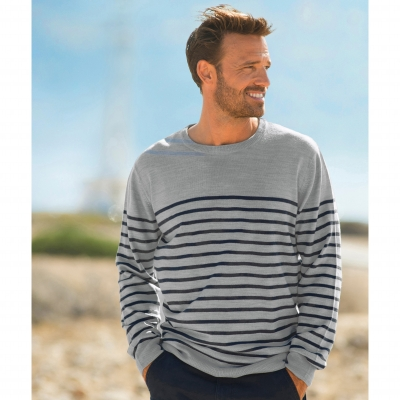 Pull rayé col rond Gris / marine: Vue 2