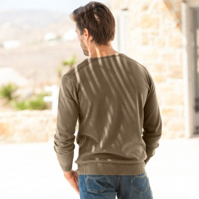 Pull col rond Marron: Vue 2