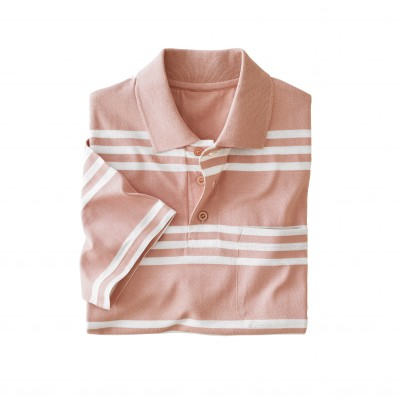 Polo rayé manches courtes Rose / blanc: Vue 2
