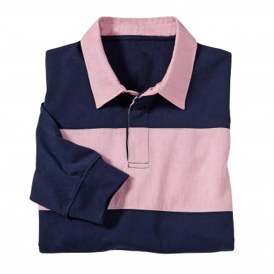 Polo rugby bicolore manches longues Marine / rose: Vue 2