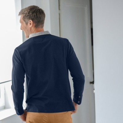 Polo manches longues jersey col chambray Marine: Vue 2