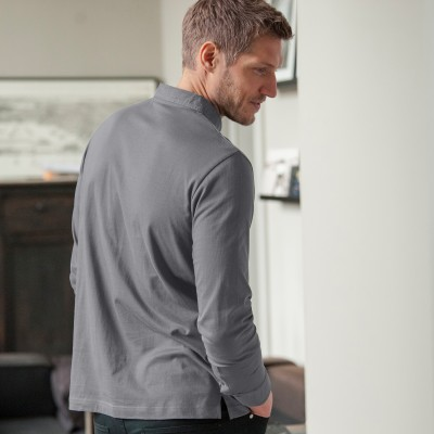 Polo manches longues jersey col chambray Anthracite: Vue 2