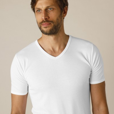 Tee-shirt col V manches courtes polyester - lot de 2 Blanc: Vue 2