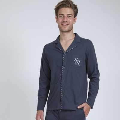 Pyjama chemise manches longues homme - Athena® Anthracite: Vue 2