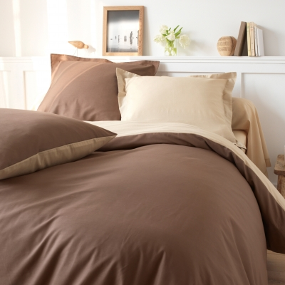 Taie bicolore coton Taupe / sable: Vue 3