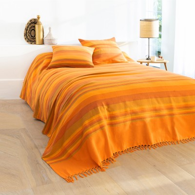 Plaid ou jeté tissé multicolore Orange: Vue 3