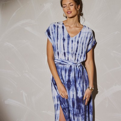 Robe longue maille tie and dye Bleu: Vue 3