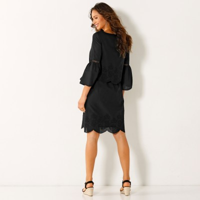 Robe broderie anglaise manches 3/4 Noir: Vue 3