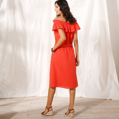 Robe chemisier broderie anglaise Orange: Vue 3