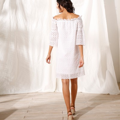 Robe courte broderie anglaise Blanc: Vue 3