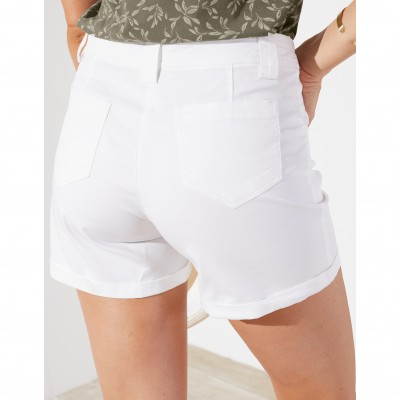 Short revers stretch Blanc: Vue 3
