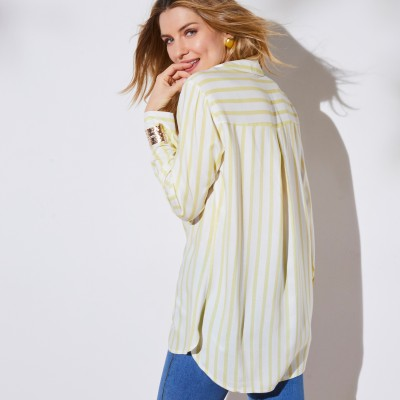 Chemise rayée manches longues Blanc / anis: Vue 3