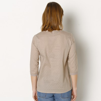Blouse plumetis manches 3/4 Taupe: Vue 3