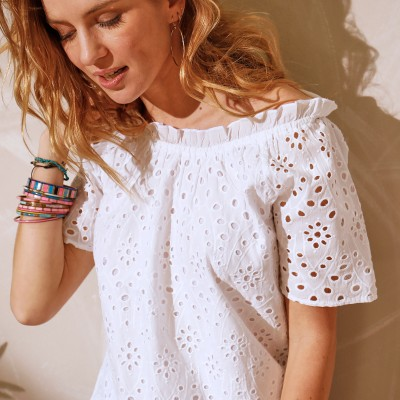 Top broderie anglaise Blanc: Vue 3