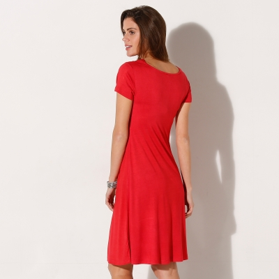 Robe maille fluide unie Rouge: Vue 3
