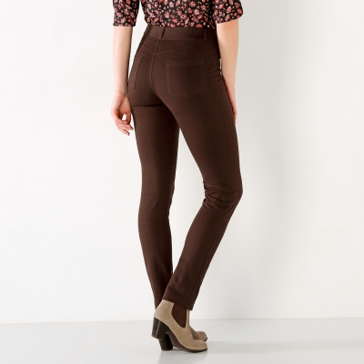 Pantalon uni maille ultra stretch Chocolat: Vue 3