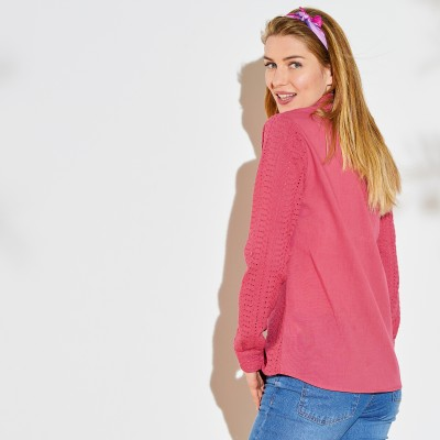 Chemise broderie anglaise unie Vieux rose: Vue 3