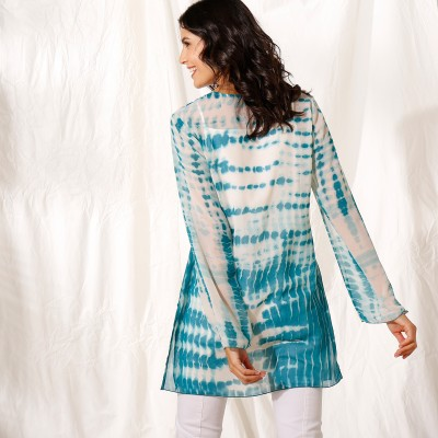 """Blouse ample col V voile effet """"tie and dye"""" Bleu: Vue 3"""