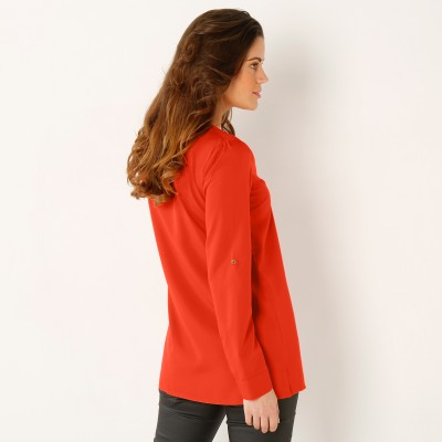 Blouse zippée unie Orange: Vue 3