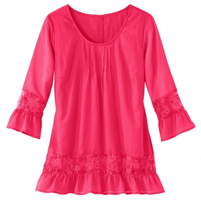 Blouse manches 3/4 tulle brodé Framboise: Vue 3
