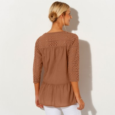 Blouse manches 3/4 broderie anglaise Noisette: Vue 2