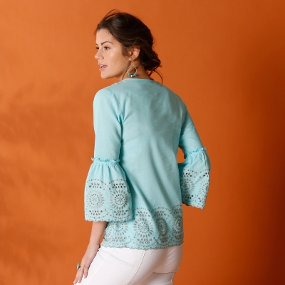 Blouse en broderie anglaise Turquoise: Vue 3