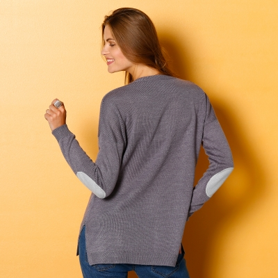 Pull étoiles col V Anthracite / gris: Vue 3