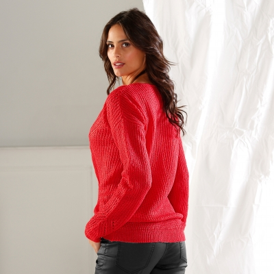 Pull col V maille fantaisie Rouge: Vue 3