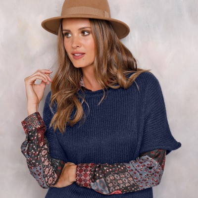 Pull poncho manches coudes Marine: Vue 3