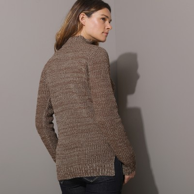 Pull col montant maille anglaise 30% laine Taupe chiné: Vue 3