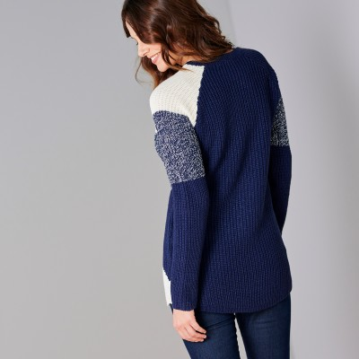 Pull maille anglaise jacquard col rond Marine chiné: Vue 3