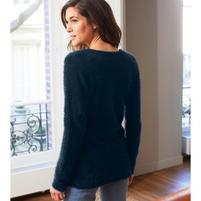 Pull col rond maille douceur Marine: Vue 3