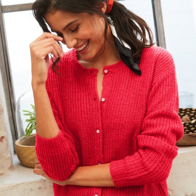Cardigan boutons perles maille anglaise Rouge oran: Vue 3