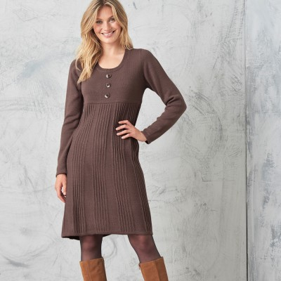 Robe pull boutonnée Taupe: Vue 3