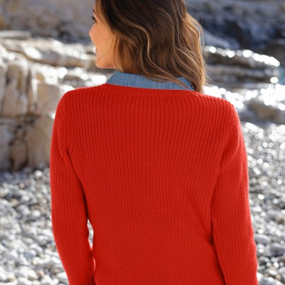 Pull col rond maille anglaise Rouge: Vue 3