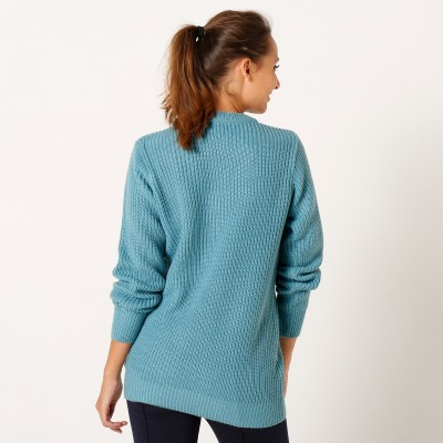Pull col rond maille anglaise Céladon: Vue 3