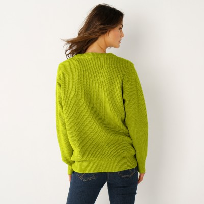Pull col rond maille anglaise Vert mousse: Vue 2
