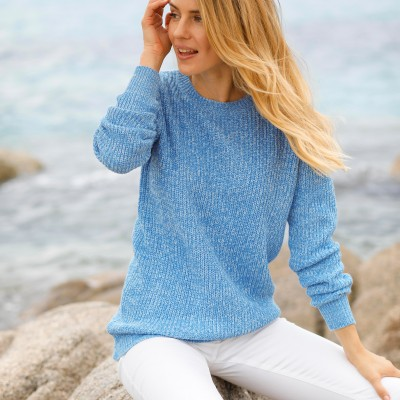 Pull col rond maille anglaise Bleu chiné: Vue 3