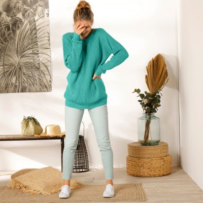 Pull col rond maille anglaise Vert: Vue 3