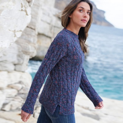 Pull col bateau maille bouclette Marine: Vue 3