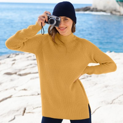Pull col montant maille anglaise Miel: Vue 3
