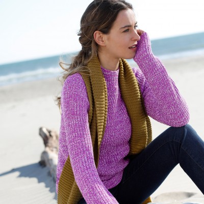 Pull col montant maille anglaise Prune chiné: Vue 3