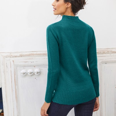 Pull col montant maille côtelée Vert sapin: Vue 3