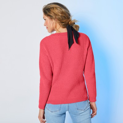 Pull col rond maille chenille Rouge grisé: Vue 3