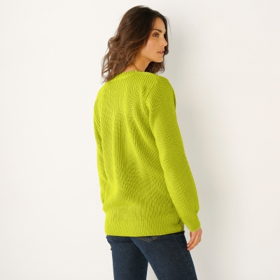 Pull col V maille anglaise Vert mousse: Vue 3
