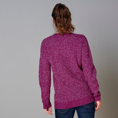 Pull col V maille anglaise Violine chiné: Vue 3