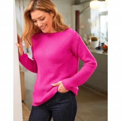 Pull col rond maille anglaise toucher mohair Rose: Vue 3