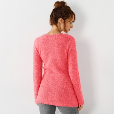 Pull col rond maille douceur Corail: Vue 3