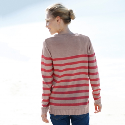 Pull col tunisien rayé Taupe / framboise: Vue 2